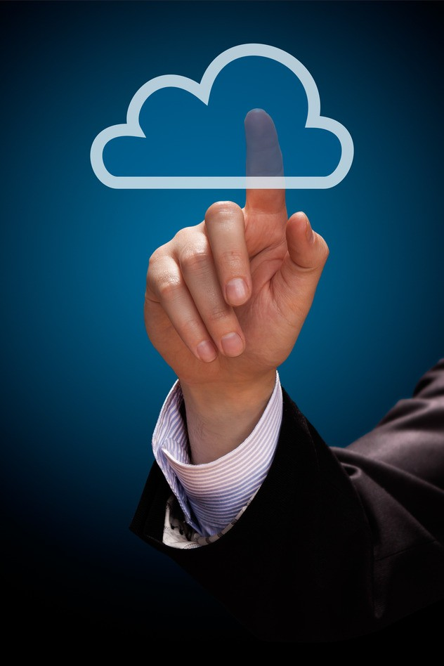 Cloud computing concept. Mans hand click on cloud icon